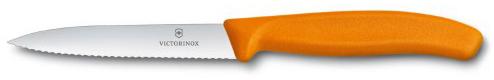 Kuchyňský nůž Victorinox vlnitý špičatý oranžový