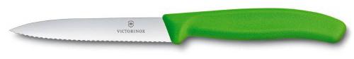 Kuchyňský nůž Victorinox vlnitý špičatý zelený
