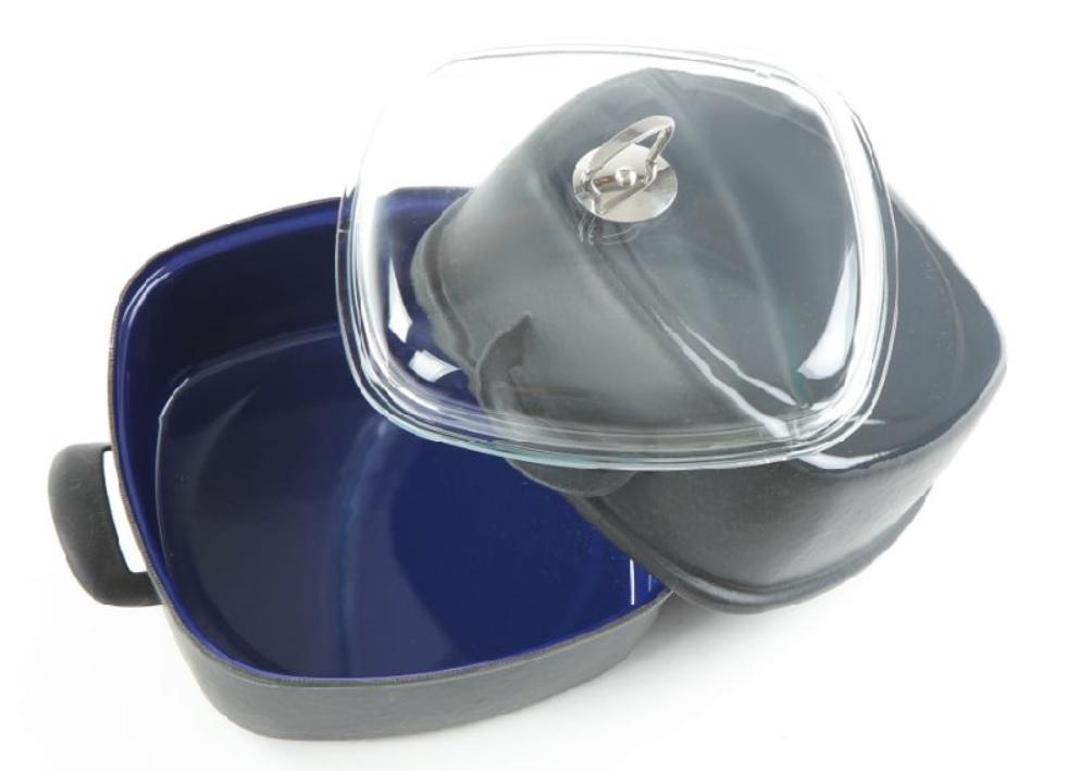 Sada 2 pekáčů s poklicí modrý smalt Belis/Sfinx 26 cm