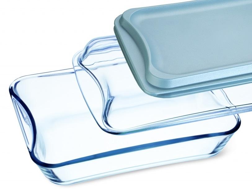 Simax pekáč se skleněným a plastovým víkem 2,5 l hranatý