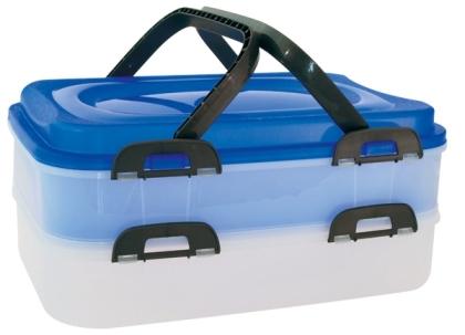 Piknikový box 2 patrový modrý