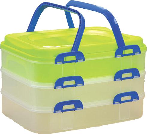 Piknikový box 3 patrový zelený