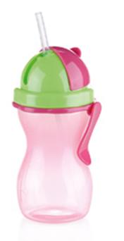 Dětská láhev Tescoma Bambini s brčkem růžová