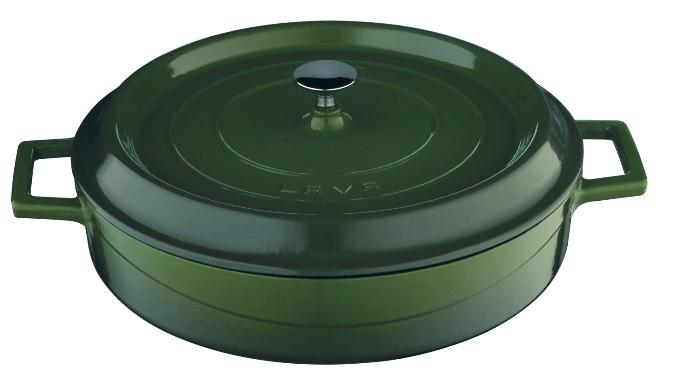 Litinový hrnec Lava 28 cm nízký zelený