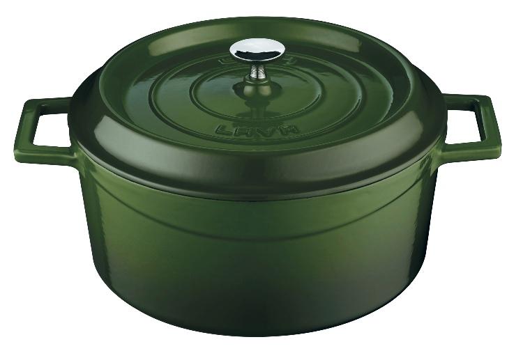 Litinový hrnec Lava 24 cm kulatý zelený